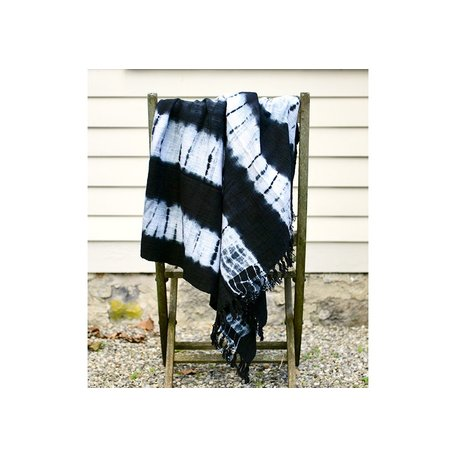Cotton Ikat Print Throw w/ Fringes in Black