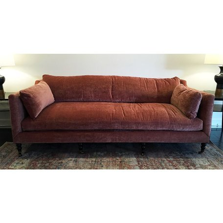 """Monique 90"""" Sofa in Cimarron w/Down Blend Cushions and Chocolate Finish Brass Castors"""