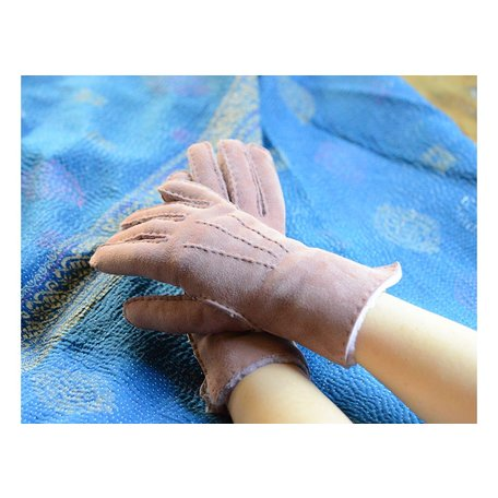 Water Repellent Shearling Gloves in Mauve