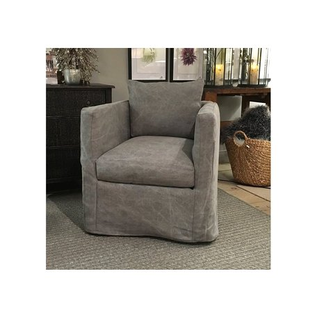 Roth Slipcovered Swivel Chair in Distressed Grey w/ Feather Down Blend