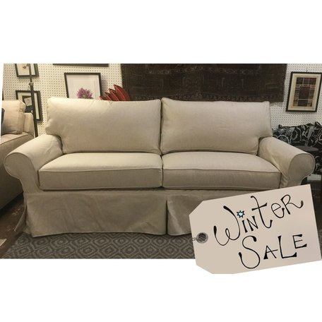 "Alexa 83"" Sofa Slipcovered in Linen Beige by MGBW"