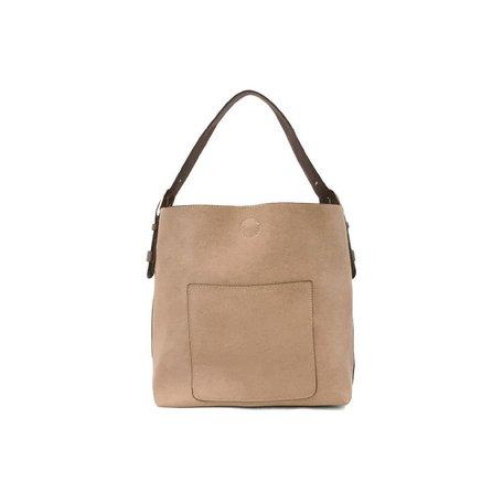 Vegan Leather Hobo Bag in Heathered Grey w/ Coffee Handle