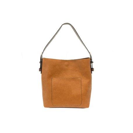 Vegan Leather Hobo Bag in Honey w/ Coffee Handle