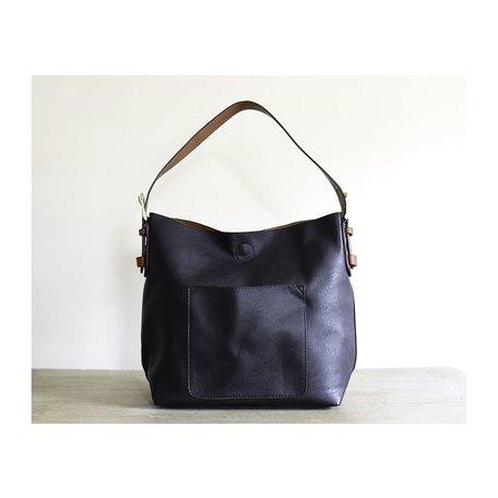 Vegan Leather Hobo Bag in Black w/ Cedar Handle