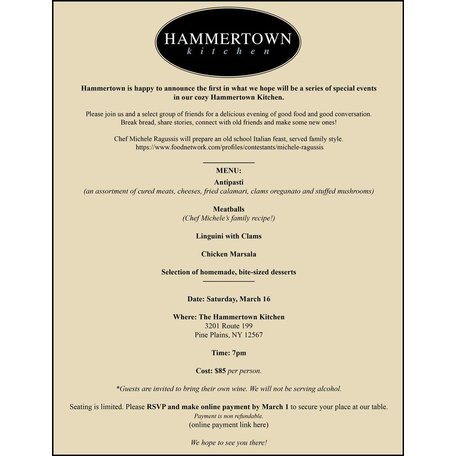Hammertown Kitchen Event with Chef Michele Ragussis