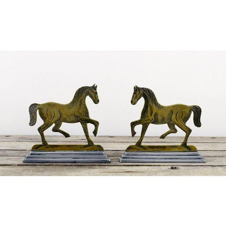Vintage Pair of Detailed Brass Horse Forms w/ Flat Backs