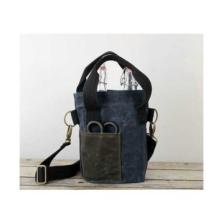 Waxed Canvas Double Wine Bottle Tote in Slate