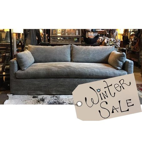 "Cornelia 88""Sofa in Distressed Grey w/ Down Blend Cushions and Bench Seat"