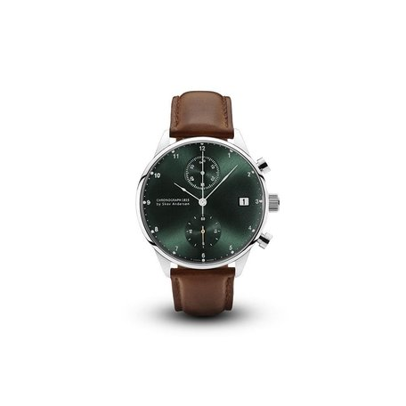 1815 Chronograph Watch in Steel/Green Sunray by About Vintage