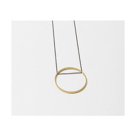 Brass Horizon Circle Cut Out Necklace