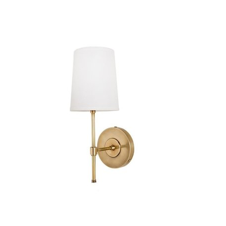 Annapolis Wall Sconce w/ Linen Shade in Antique Brass