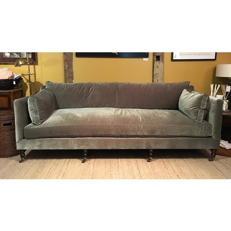 "Monique 90"" Sofa in Sage w/ Down Blend Cushions Chocolate Finish Brass Castors"