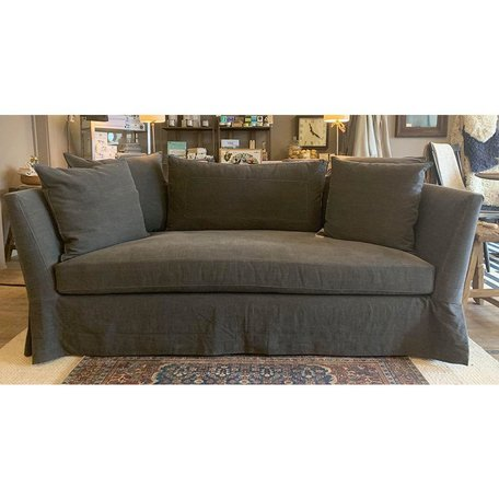 "Seda 84"" Sofa Slipcovered in Molino Slate Organic Cotton w/ Feather Cloud Cushions by Cisco Brothers"