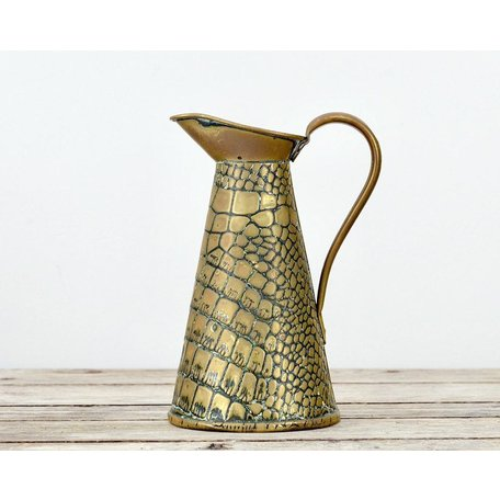 Vintage English Faux Croc Brass Pitcher; circa 1920