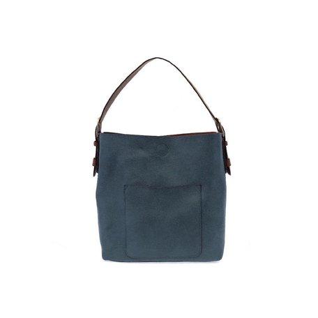 Vegan Leather Hobo Bag in Dark Chambray w/ Coffee Handbag