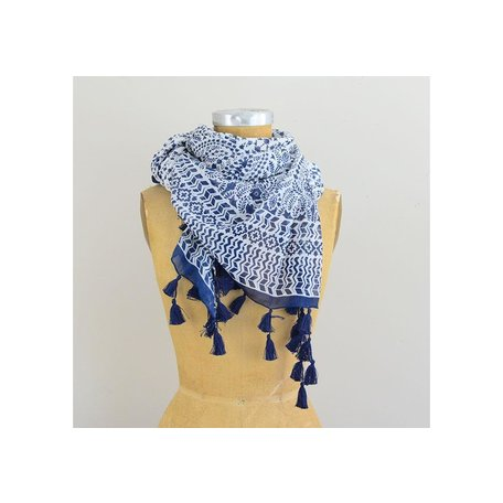 Indigo Blue Cotton Scarf w/ Tassels