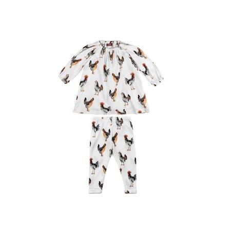 Organic Cotton Dress and Legging Set, Chickens 6-12M