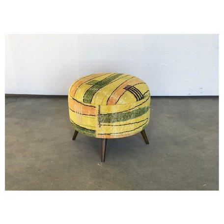 Vintage Art Deco Turkish Rug Stool 50018-B