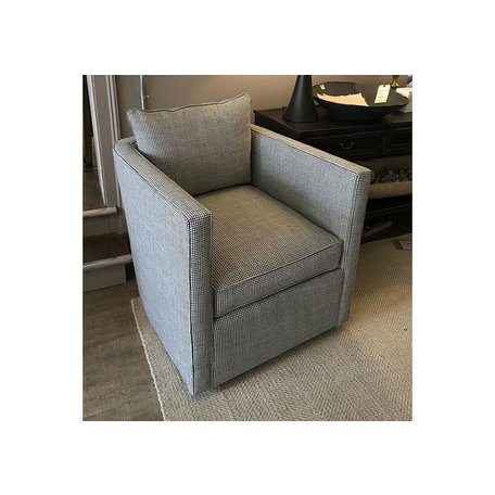 Roth Tailored Swivel Chair in Pepper Houndstooth w/ Feather Down Blend