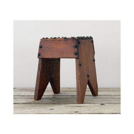 Vintage Detailed Wood Stool with Metal Studs