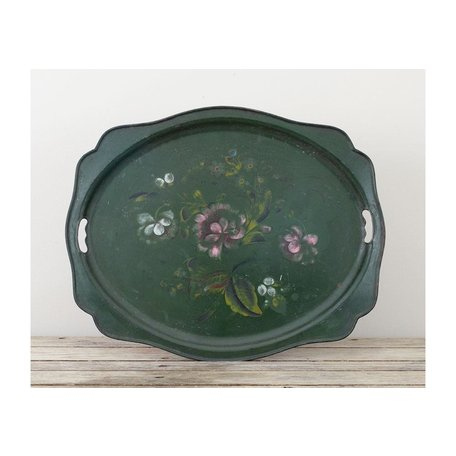 Vintage Green Tole Tray