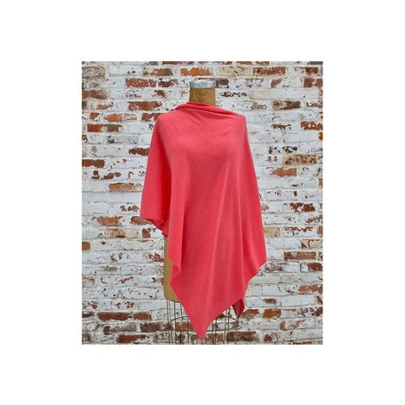Cashmere Poncho in Coral