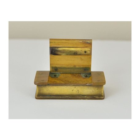 Vintage French Bone and Brass Box w/ Stamped Initials