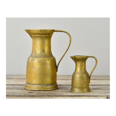 Vintage French Pair Of Brass Pitchers