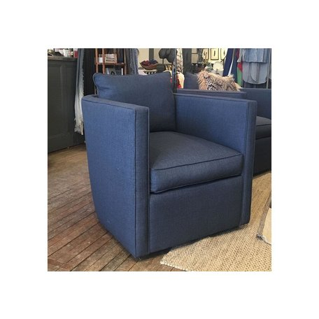 Roth Swivel Chair in Navy Kidproof Fabric w/Feather Down Blend