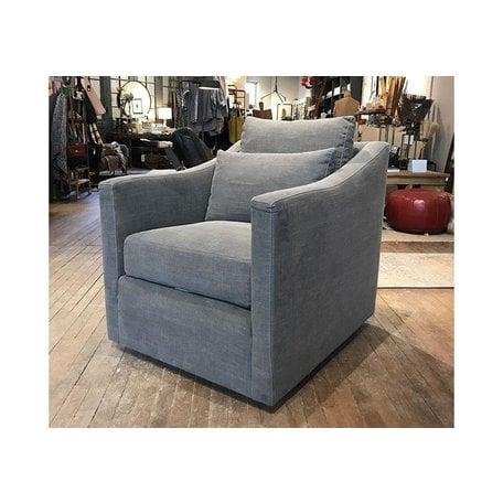 Rebecca Swivel Chair Upholstered in Molino Slate
