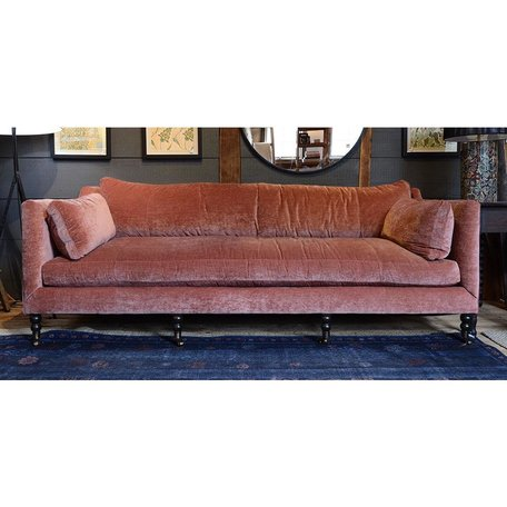 "Monique 90"" Sofa in Cimarron w/Down Blend Cushions and Chocolate Finish Brass Castors"