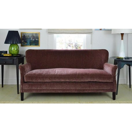 Pippa Apartment Sofa In Everest Mulberry w/ Tack Trim Around Outside Back by Lee Industries