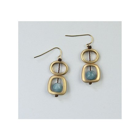 Geo Earrings w/ Natural Mixed Stone in Gold