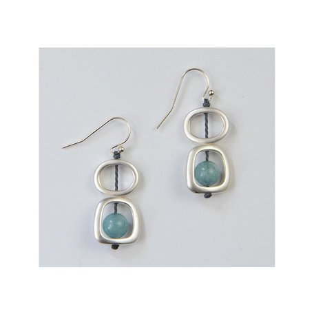 Geo Earrings w/ Natural Mixed Stones in Silver