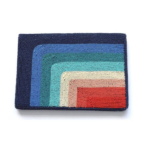 Blue and Red Rainbow Beaded Clutch