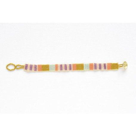 Citron Stripe Petite Seed Bead Bracelet