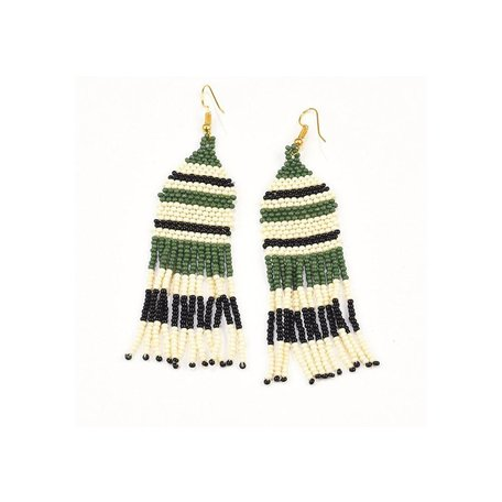 Green, White, and Black Stripe Seed Bead Earring