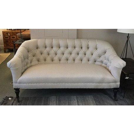 Joan Tailored Loveseat in French Ticking Charcoal by Lee Industries