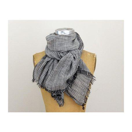 Striped Grey Scarf w/ Fringe