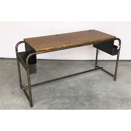 Vintage 1930's Metal School Desk from Belgium