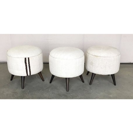 Vintage Small Hemp Rug Stool Ottomans