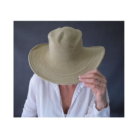 Crochet Sun Hat in Tan, UPF 50+