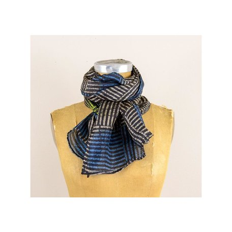 Silk Multi Color Stripe Scarf in Charcoal/Black