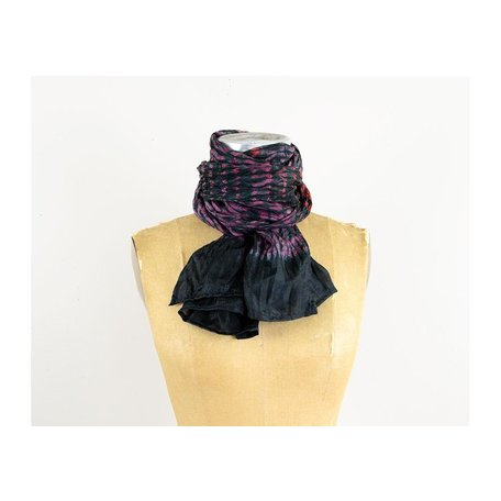 Silk Hand Dyed Shibori Scarf in Black/Red