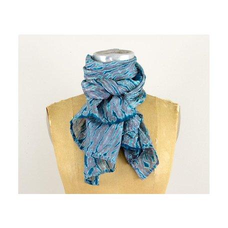 Silk Hand Dyed Shibori Scarf in Black/Blue