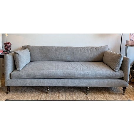 "Monique 90"" Sofa In Mink W/Down Blend Cushions- Chocolate Finish  and Brass Castors"