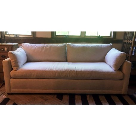 "Cornelia 88"" Upholstered Sofa in Inside Out -Off White w/ Down Bench Seat"