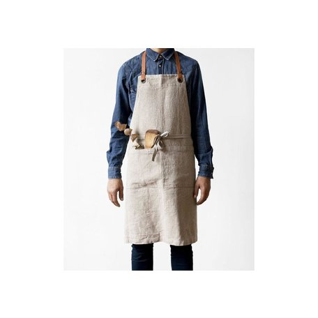 Natural Wash Linen Luxury Apron w/ Leather Neck Strap
