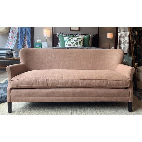 Pippa Apartment Sofa In Sahara Apricot w/Tack Trim Around Outside Back Black Walnut Finish by Lee Industries