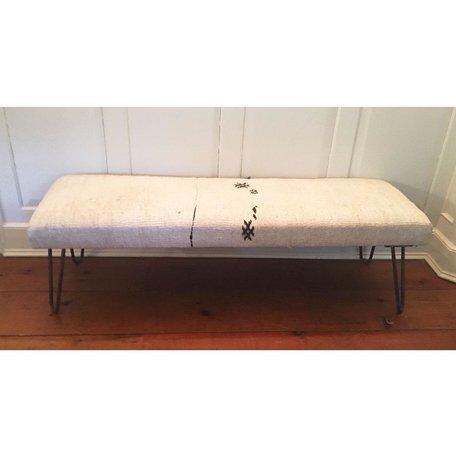 Vintage Rug Bench w/ Metal Legs